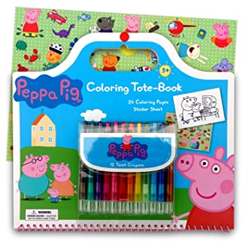 Amazon Com Peppa Pig Art Activity Set With Coloring Book Pages