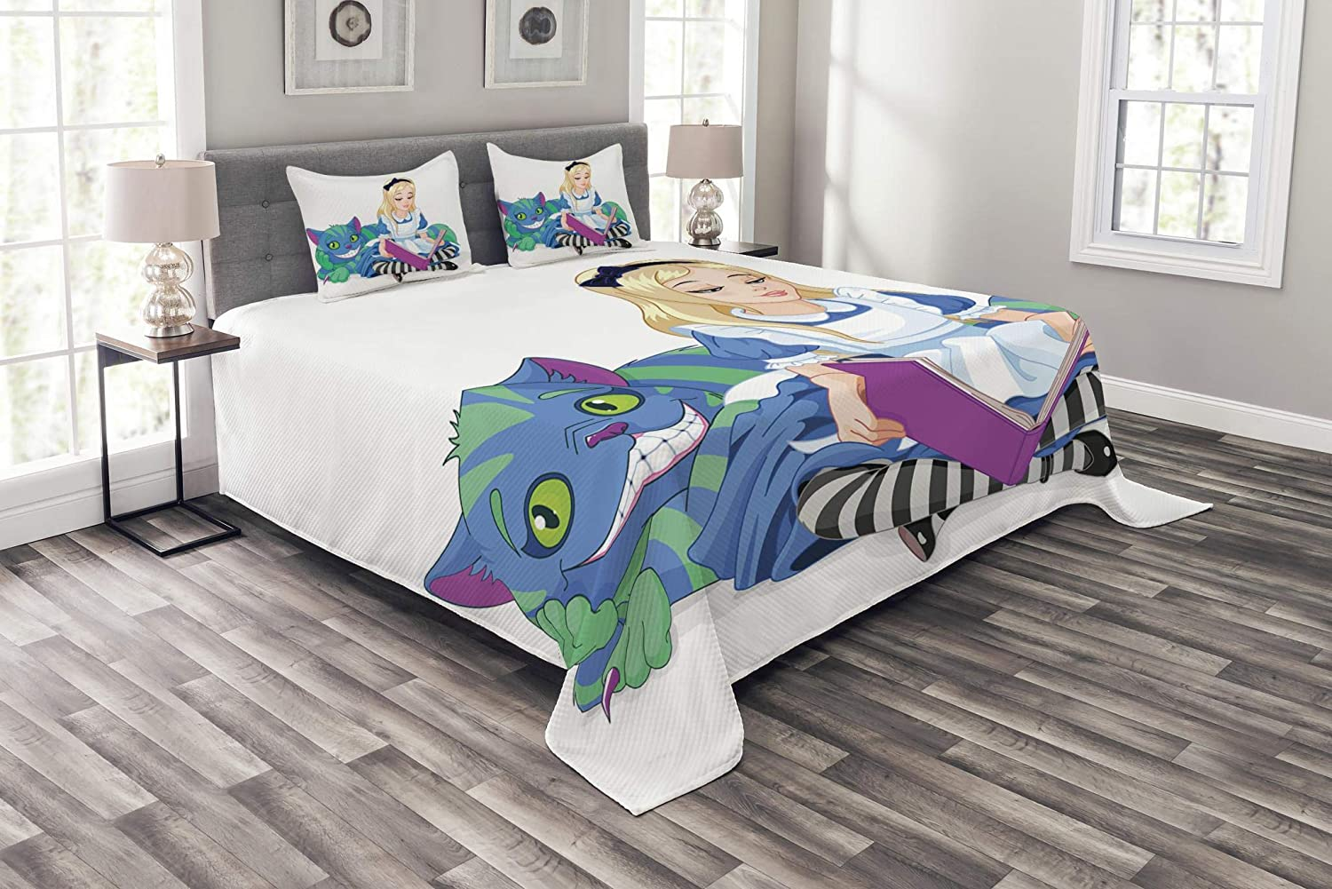 Ambesonne Alice in Wonderland Bedspread, Alice Reading Book Cat Colorful World Happiness Love Character Image, Decorative Quilted 3 Piece Coverlet Set with 2 Pillow Shams, Queen Size, White Purple