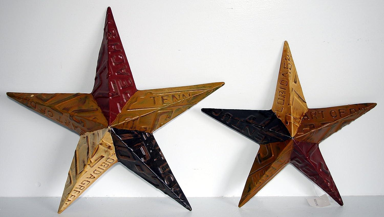 Medium 15 x 15 Medium 15 x 15 Mexican Imports Small 13 x 13 Set of 2 Rustic Metal Barn Stars License Plate Design