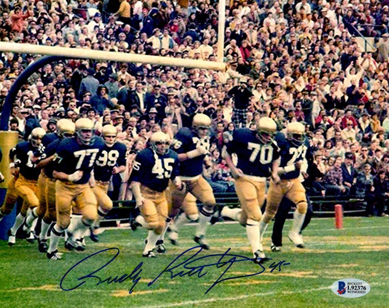 Beckett BAS Rudy Ruettiger Autographed Signed Notre Dame 8x10 Photo Running On Field