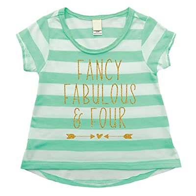 Girl 4th Birthday Shirt Fancy Fabulous Four 4 Year Old 4T