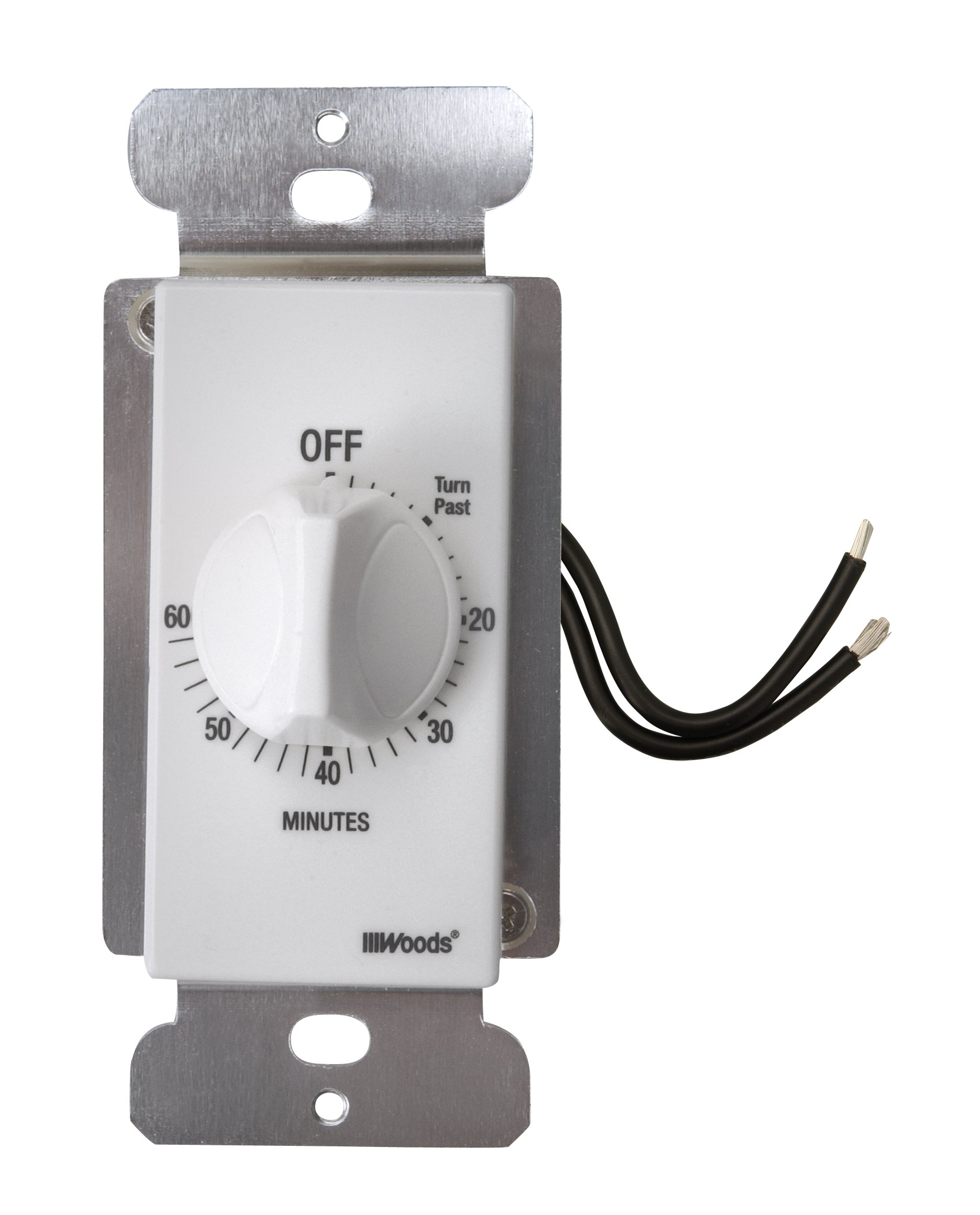 Woods 59717WD 60-Minute Decora Style Timer Mechanical Wall Switch (White) by Woods (Image #1)