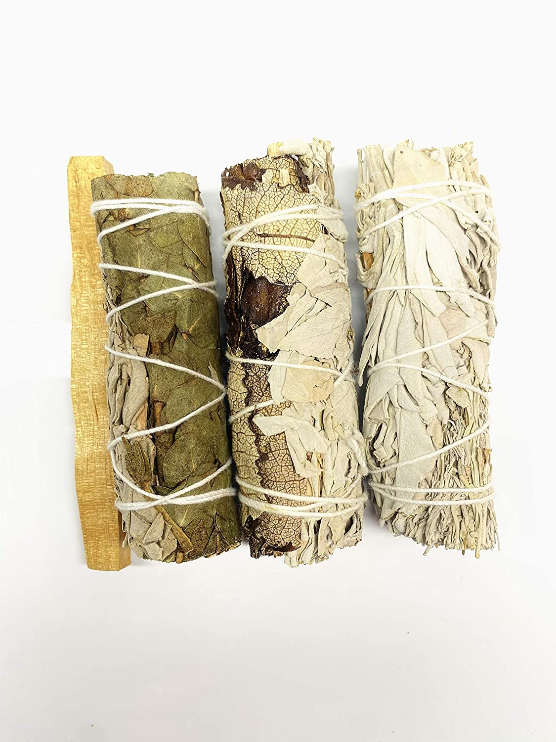California White Sage Mix with Yerba Santa, Eucalyptus & Blue Sage for Home Cleansing, Healing, Meditation & Smudging Rituals. 100% Natural.