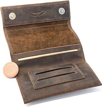 Bolsa para Tabaco de Liar Cuero COMARI | Compartimento para Papel de Doble Fila y filtros | Cerradura magnética | Piedra humidificadora de Tabaco Greengo Gratis (Marrón Vintage): Amazon.es: Equipaje