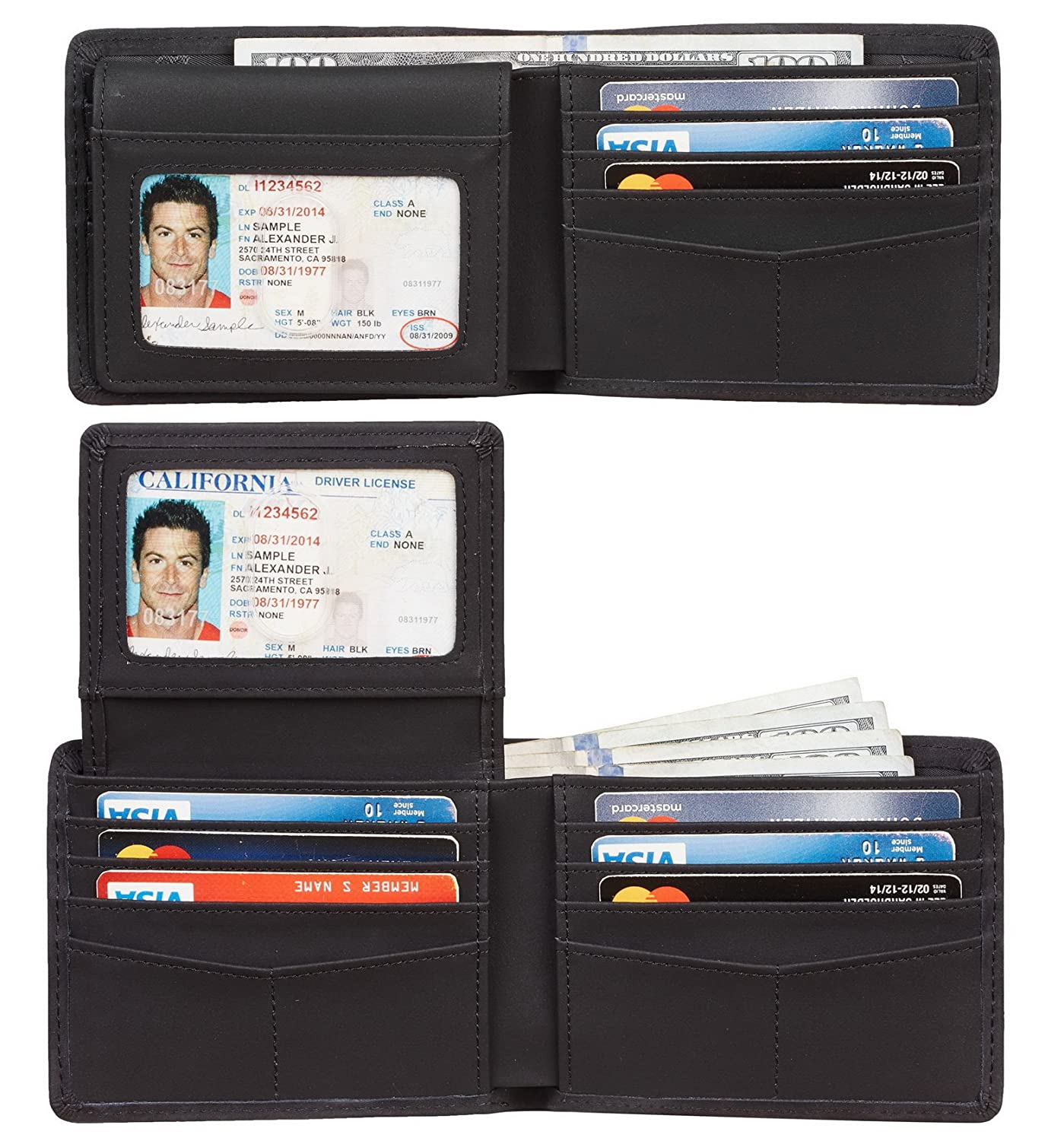 Travelambo Genuine Leather RFID Blocking Wallets Mens Wallet Bifold Classic tra302