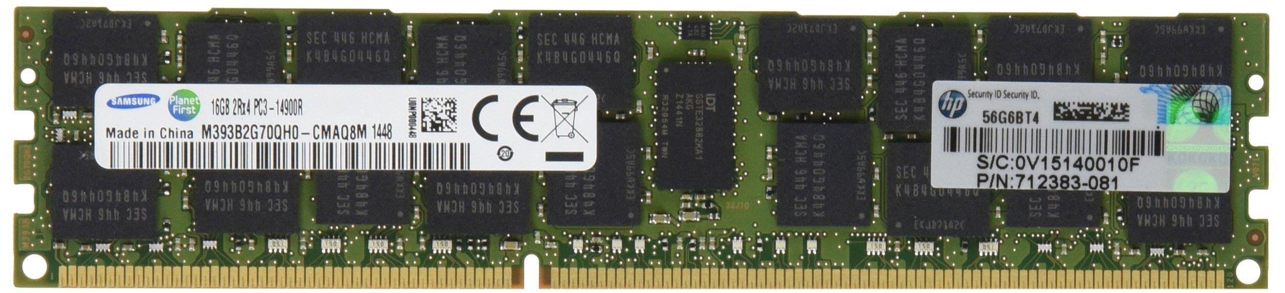 SAMSUNG 16GB 2RX4 PC3-14900R-13 MEMORY KIT Server Memory 715274-001 (Renewed)