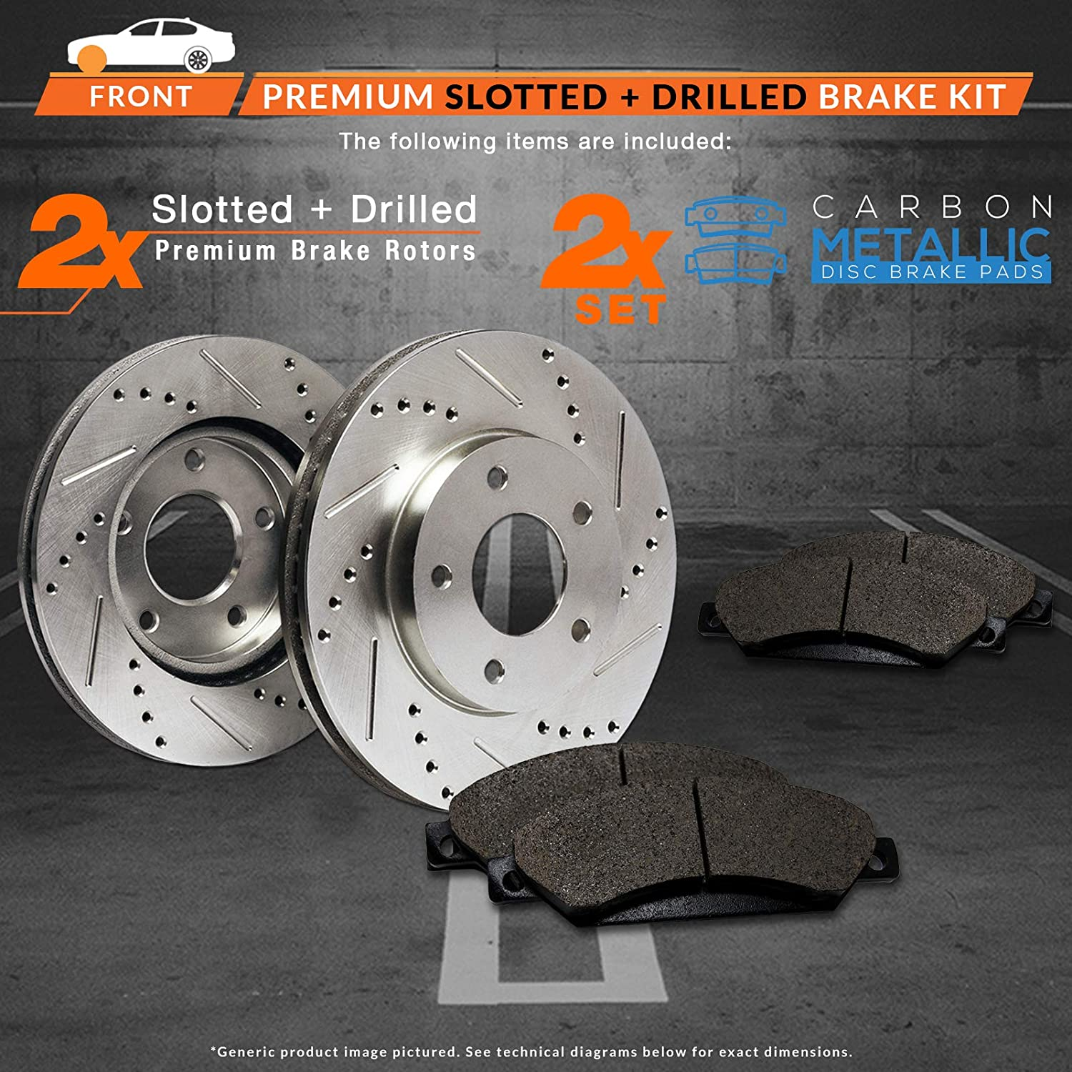 Premium Slotted Drilled Rotors + Metallic Pads Fits: 2012 12 2013 13 Honda CR-V AWD Models Max Brakes Front Performance Brake Kit TA114531