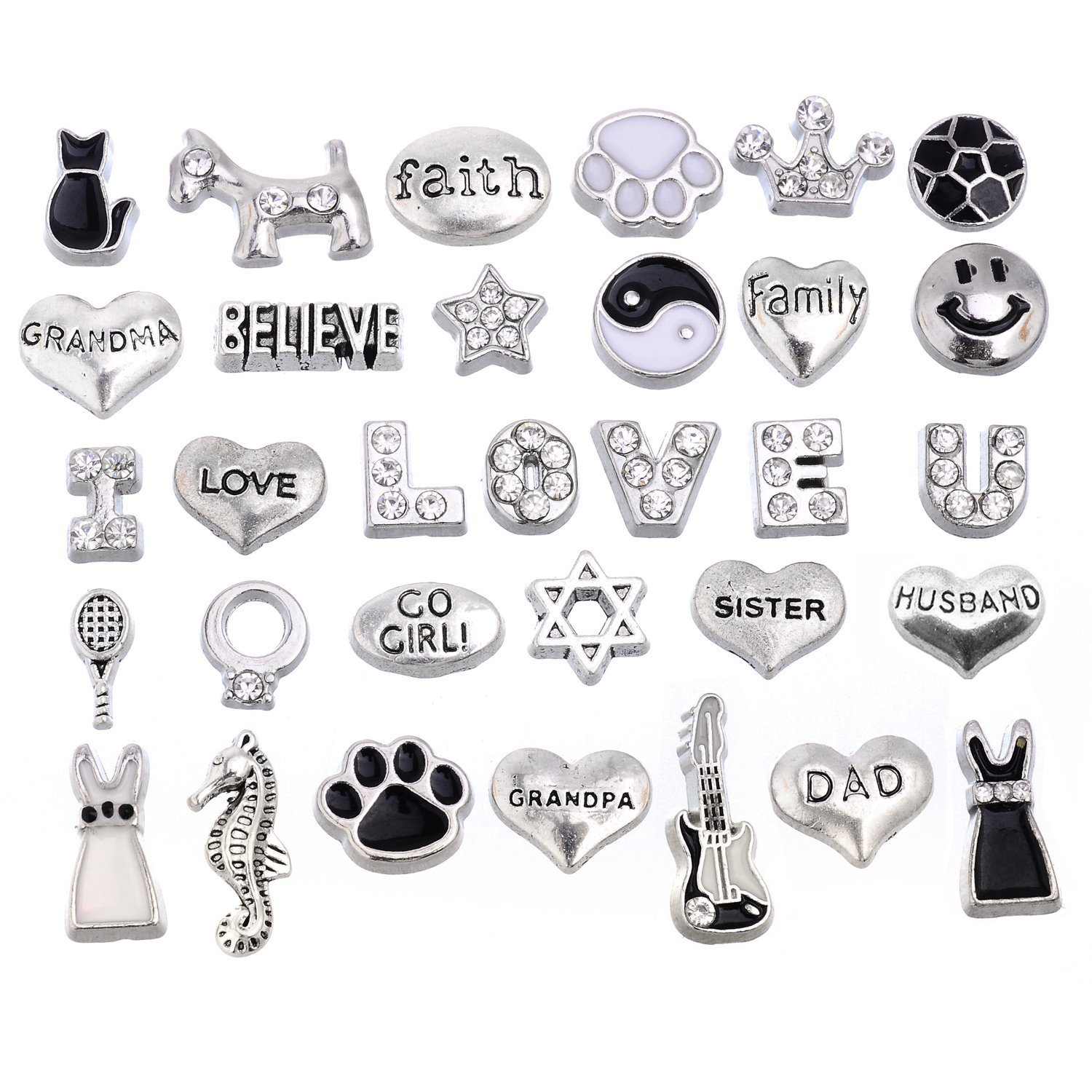 RUBYCA 32pcs Mix Floating Charms Lot for Glass Living Memory Lockets Black and White Silver Color by RUBYCA   B015QETC6W