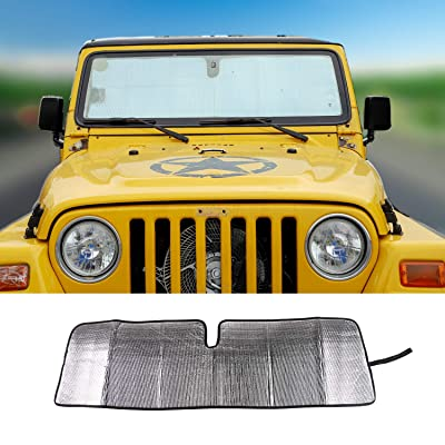 JeCar Windshield Sun Visor Foldable Sunshade Aluminum Foil Sun Shield for 2007-2020 Jeep Wrangler JK JKU & 1997-2006 Jeep Wrangler TJ LJ: Automotive