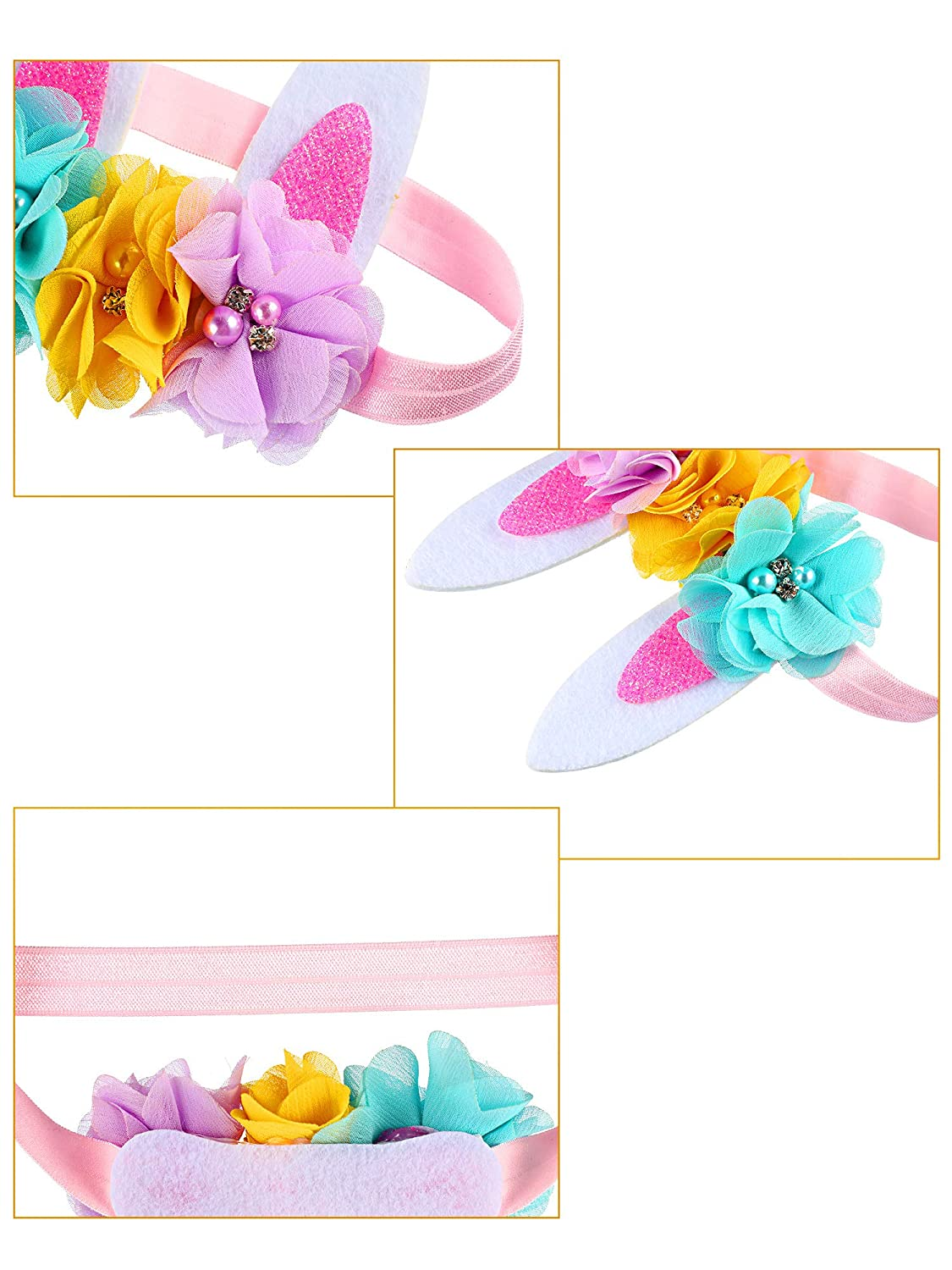 3 piece Easter Bunny Ears Headband Baby Infants Toddlers Easter Headbands for Easter Day Party Decoration