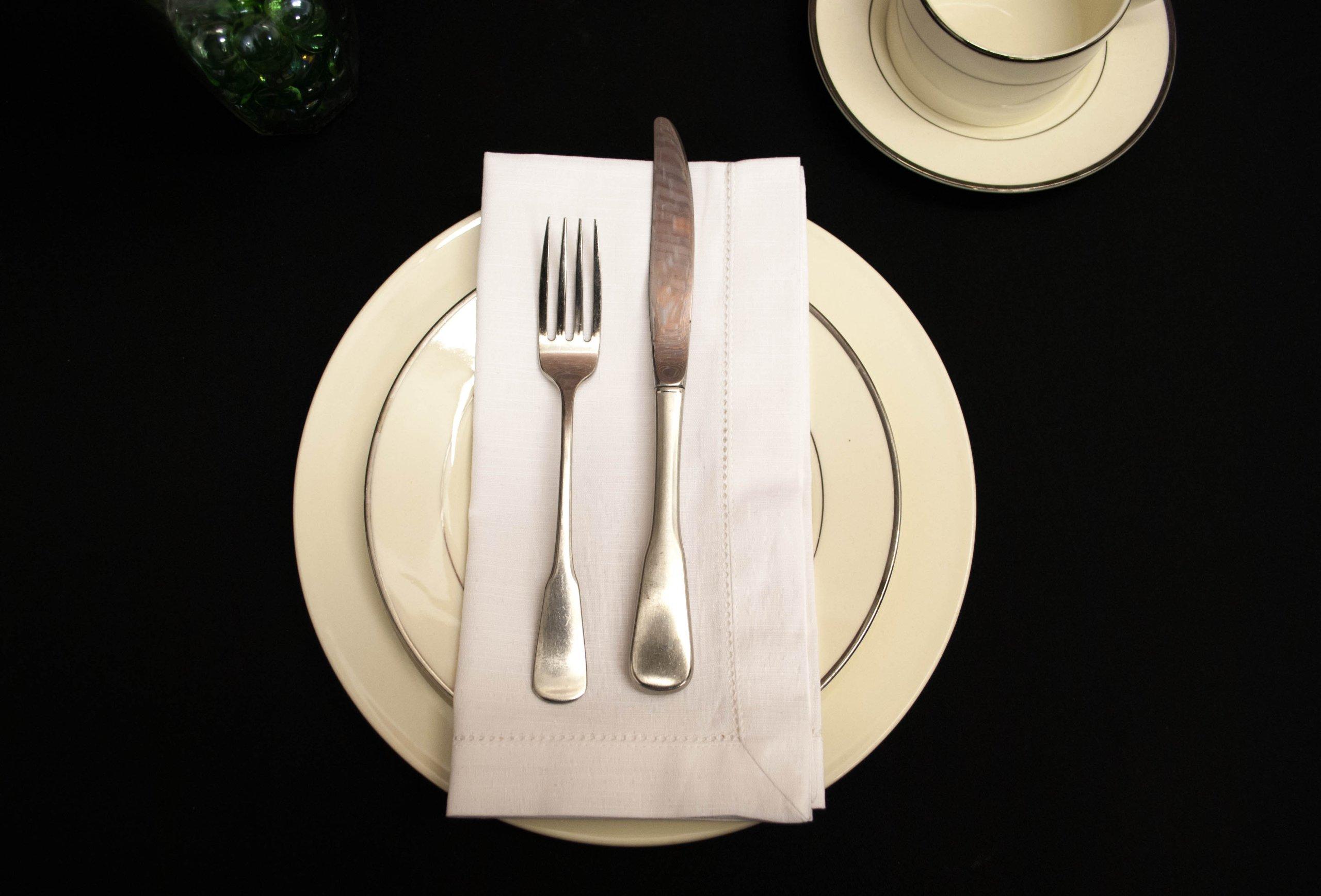 Hemstitch Dinner Napkins White 1 Dozen by Something Different Linen by Something Different Linen (Image #1)
