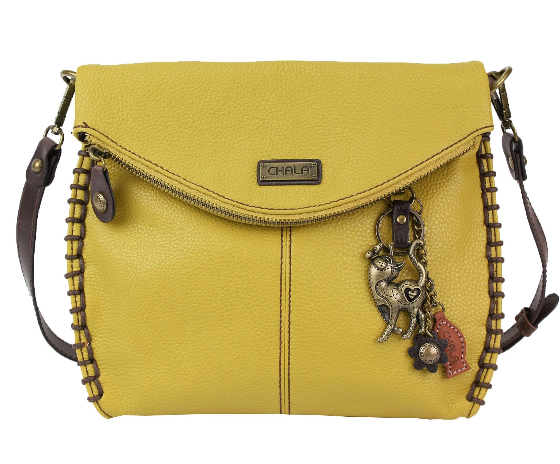 Chala Charming Crossbody Bag With Flap Top   Flap and Zipper Mustard Cross-Body Purse or Shoulder Handbag with Metal Chain - Slim Cat