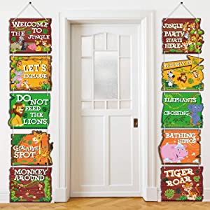 Blulu 10 Pieces Jungle Animals Party Signs Wild Animals Welcome Door Sign Zoo Animals Cutout for Theme Party Birthday Party Baby Shower Supplies