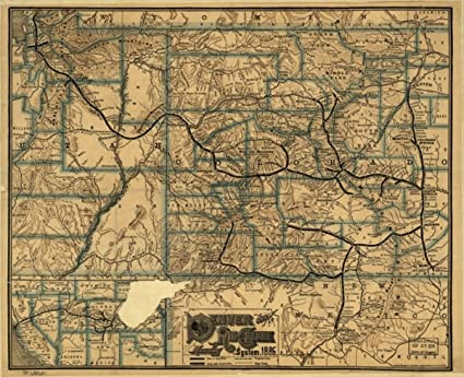 Amazon.com: Vintography 1886 Railroad map Colorado & New Mexico ...