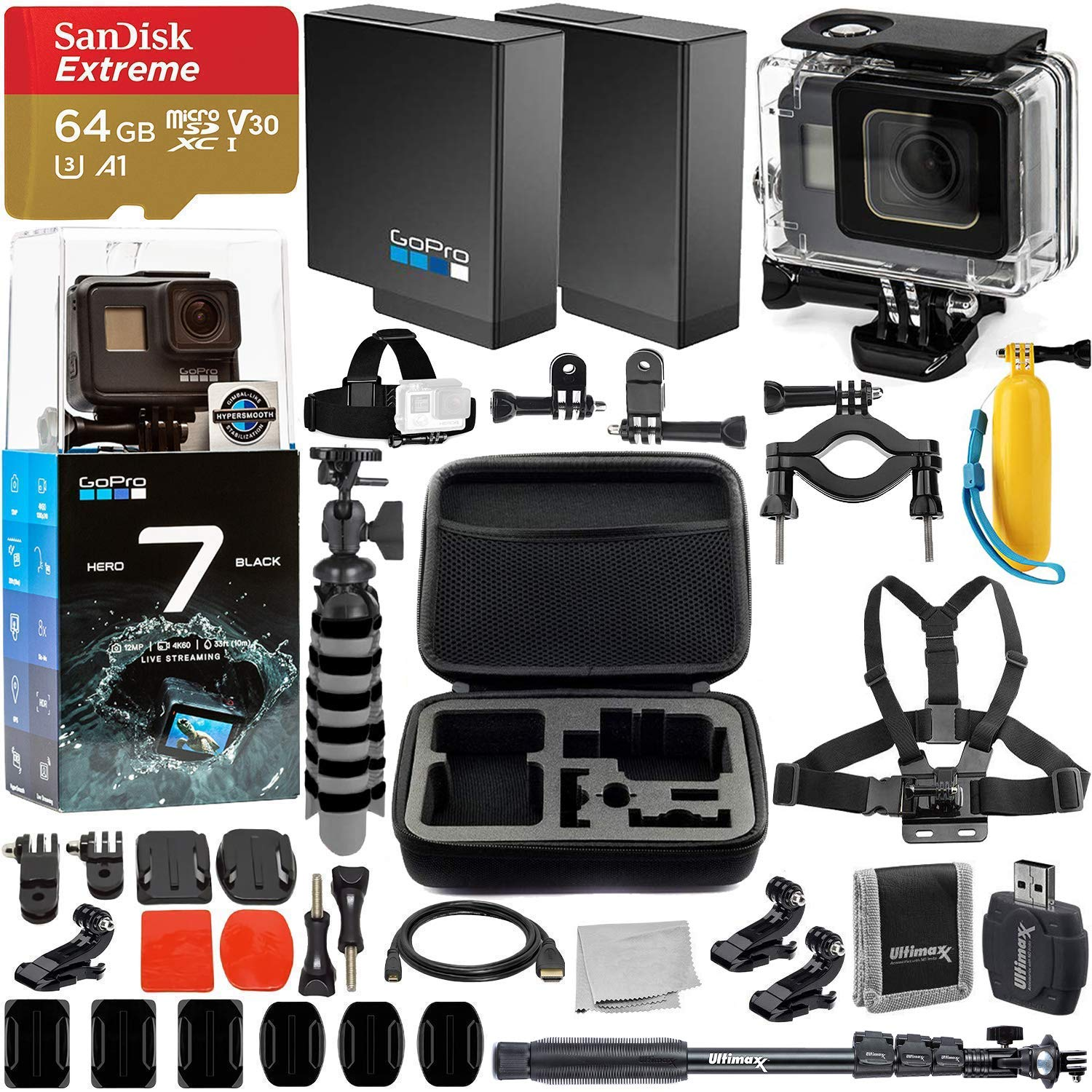 GoPro HERO7 Hero 7 Black Action Camera Super Bundle - Includes: SanDisk Extreme 64GB microSDHC Memory Card & Much More by GoPro