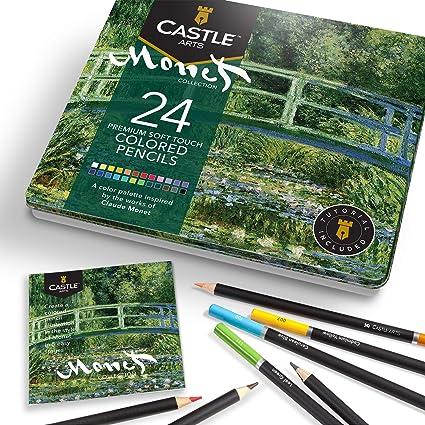 Castle Arts 24 lápices de colores en un estuche de metal, inspirado en Monet. Perfecto para dibujar, hacer bocetos, colorear. Con núcleos blandos, mezcla superior y juego de capas…: Amazon.es: Oficina y