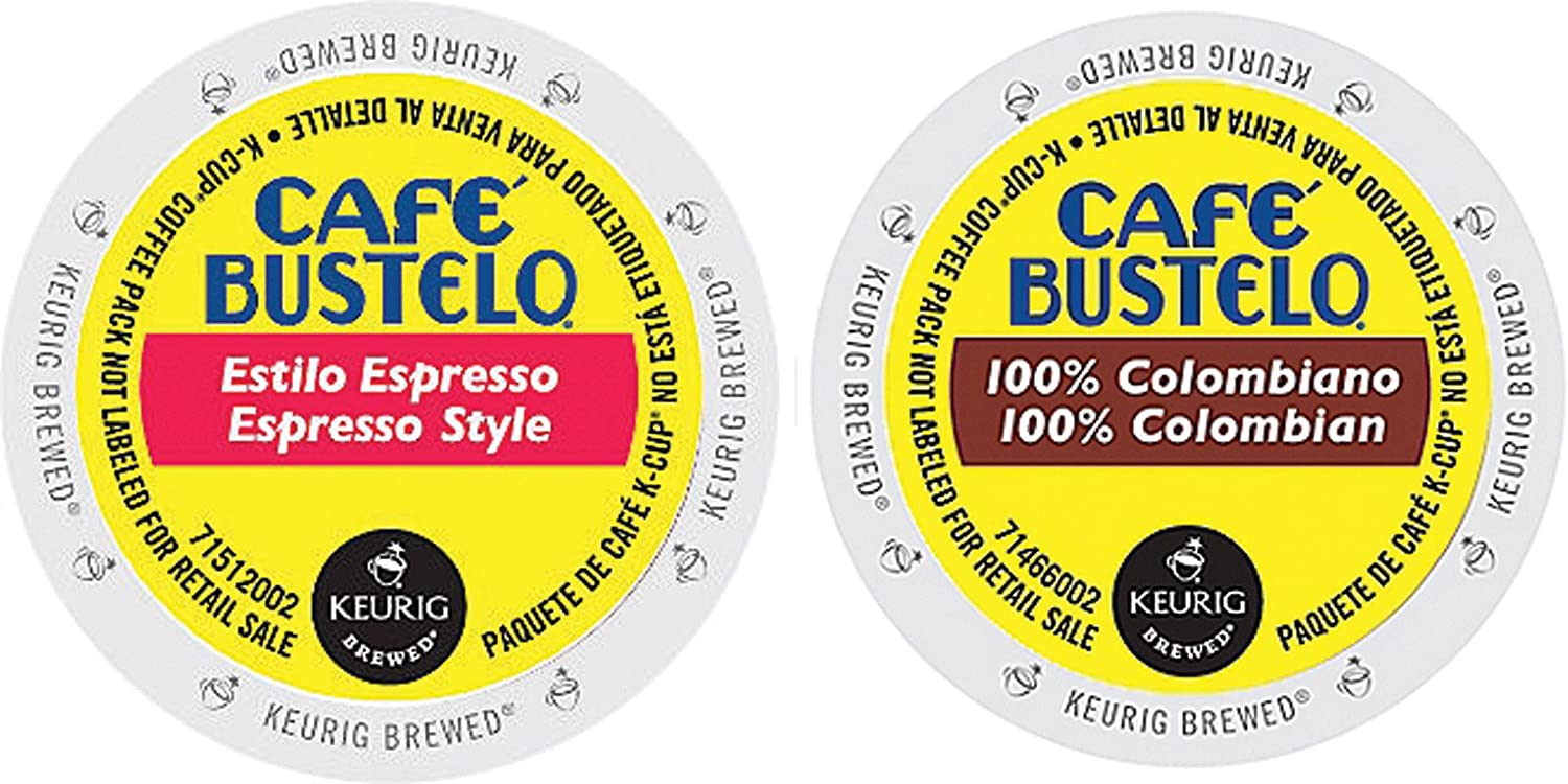 Cafe Bustelo - Espresso & 100% Colombian K-cup Combo Pack for Keurig 2.0 - 48 Count/24 Per Box