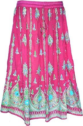MapleClothing Mujer India Largo Faldas Lentejuelas Tobillo ...