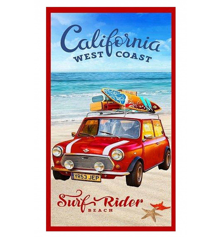 Toalla de playa con estampado fotográfico con imagen de un mini de vacaciones por la costa californiana, 85 x 165 cm: Amazon.es: Jardín