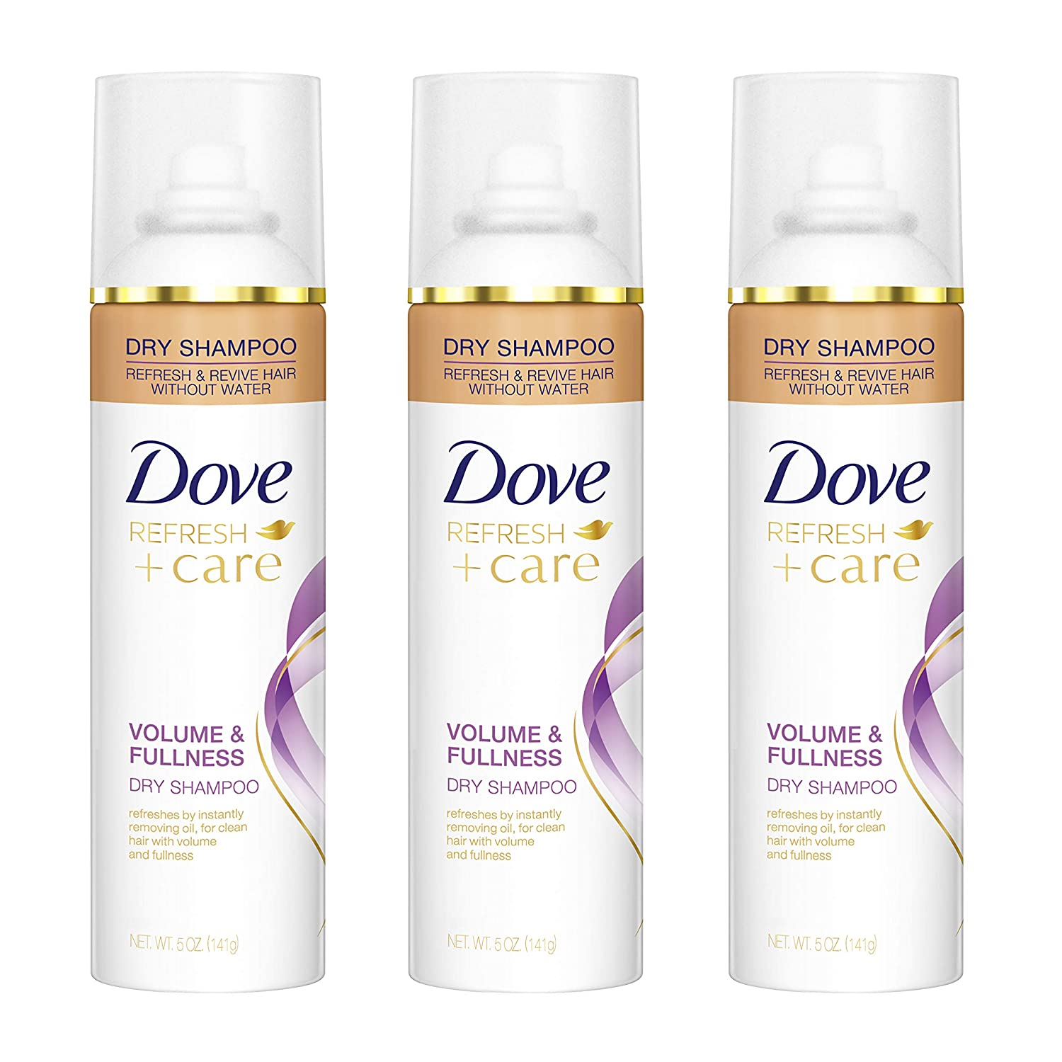 Dove Refresh+Care Dry Shampoo, Volume & Fullness, 5 oz, Pack of 3