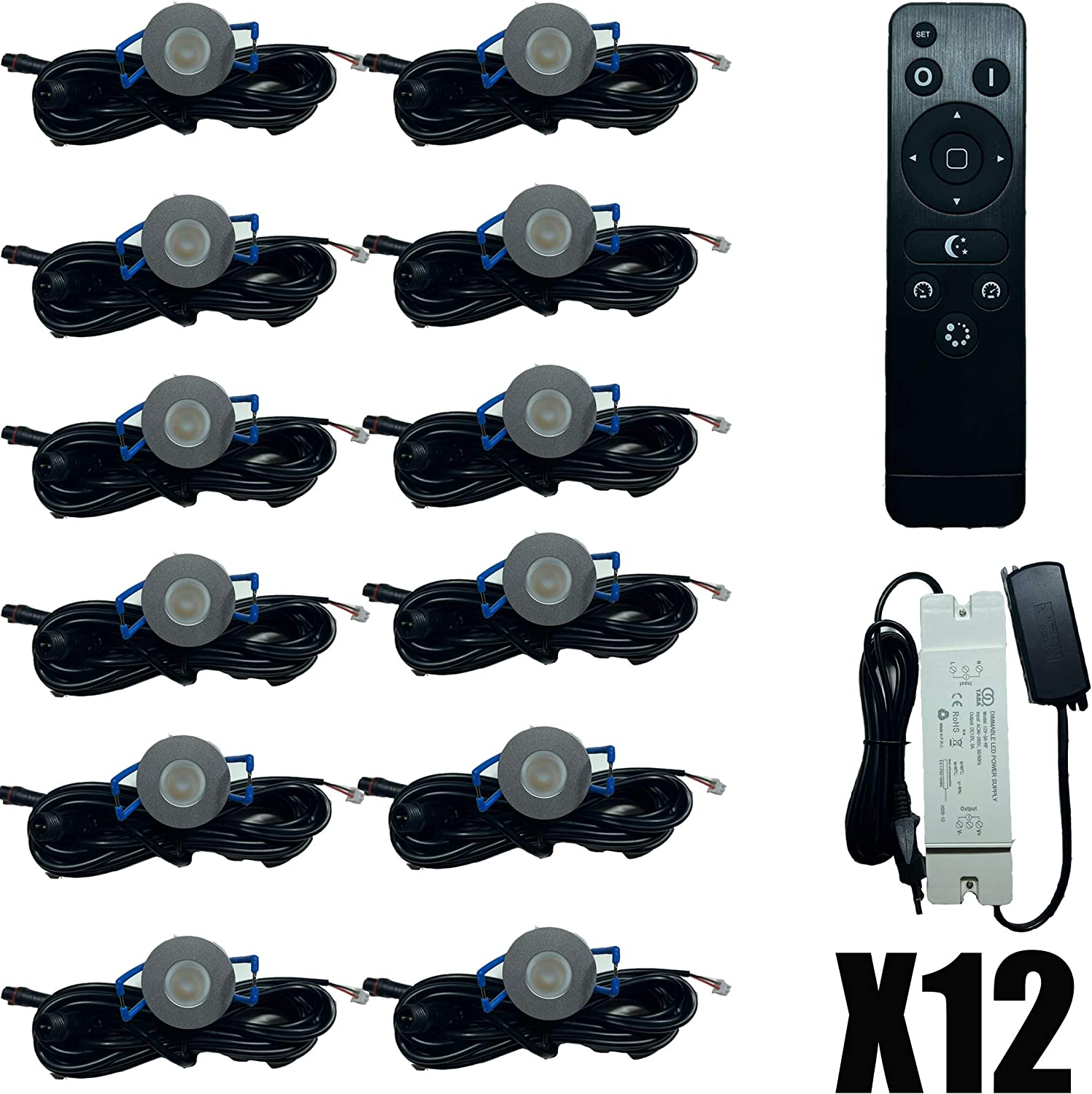12x LED Lighting 3W Dimmable with Remote Control IP65 Against Water Penetration