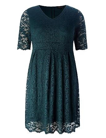 225f00e5dc7 Chicwe Women s Plus Size Elegant Scalloped Lace Dress - Cocktail Evening  Event Dress Antique Green 1X