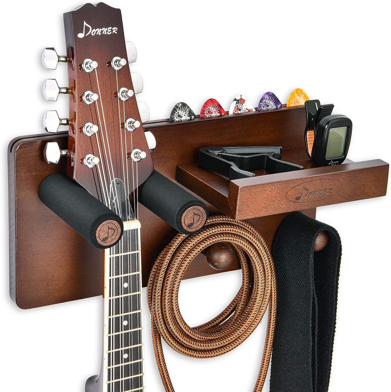 Donner Soporte Guitarra Pared Madera, Colgador Guitarra Pared, Gancho Multifuncional para Ukelele con Soporte Púas y 2 Ganchos para Ukelele, Violín, Bajo, Guitarras eléctricas acústica y accesorios