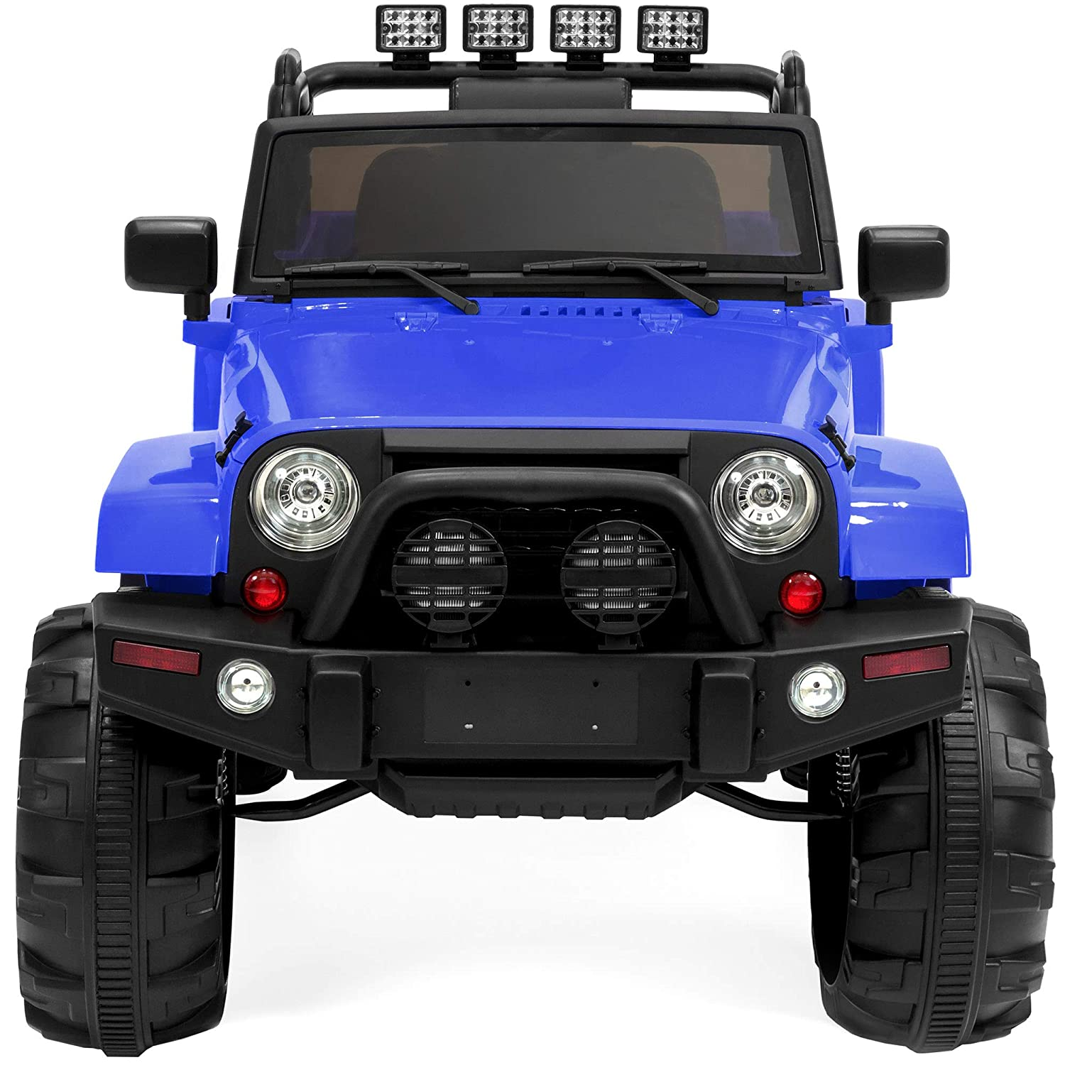 Best Choice Products 12v Kids Ride On Truck Car W Wiring Harness Alligator Fence Remote Control 3 Speeds Spring Suspension Led Lights Aux Blue Toys Games