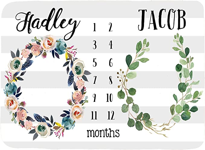 perfect baby shower gift floral baby girl photo prop Track baby/'s growth customized with names Twins Personalized Baby Month Blanket