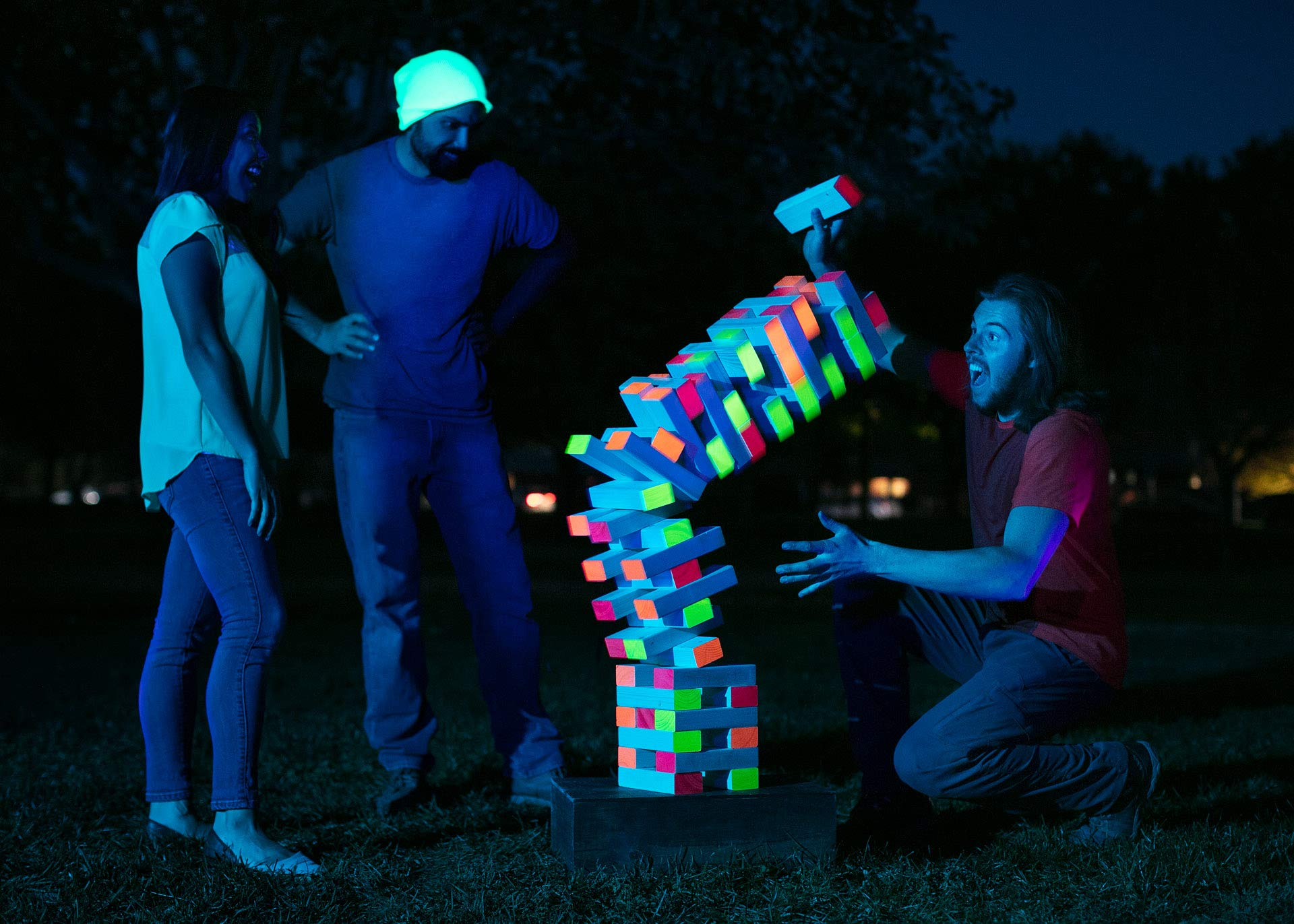 Limelight Games Ultimate Black Light Giant Tumbling Tower - Entertain Your Large Group Day Or Night - Glowing Blocks - Premium Carrying Case - Precision Milled Wooden Stacking Block Set by Limelite Games (Image #1)
