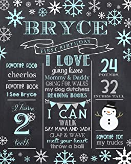 dozili personalized winter first birthday chalkboard style blue winter 1st birthday chalkboard style printable