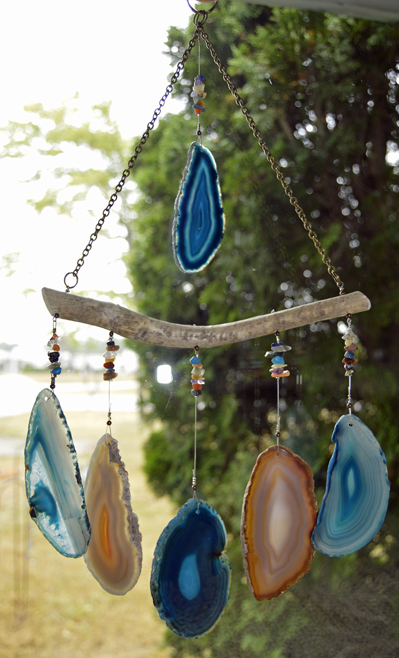 amber and teal/aqua slice Agate geode wind chime windchime sun catcher wind chime mobile Hanging from Lake Superior Driftwood hanging window decor suncatcher outdoor ornament patio