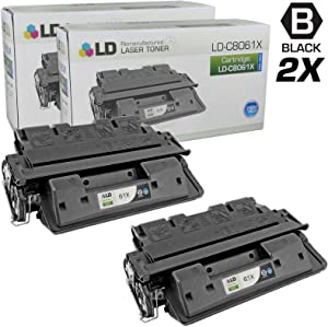 LD Remanufactured Toner Cartridge Replacement for HP 61X C8061X High Yield (Black, 2-Pack)