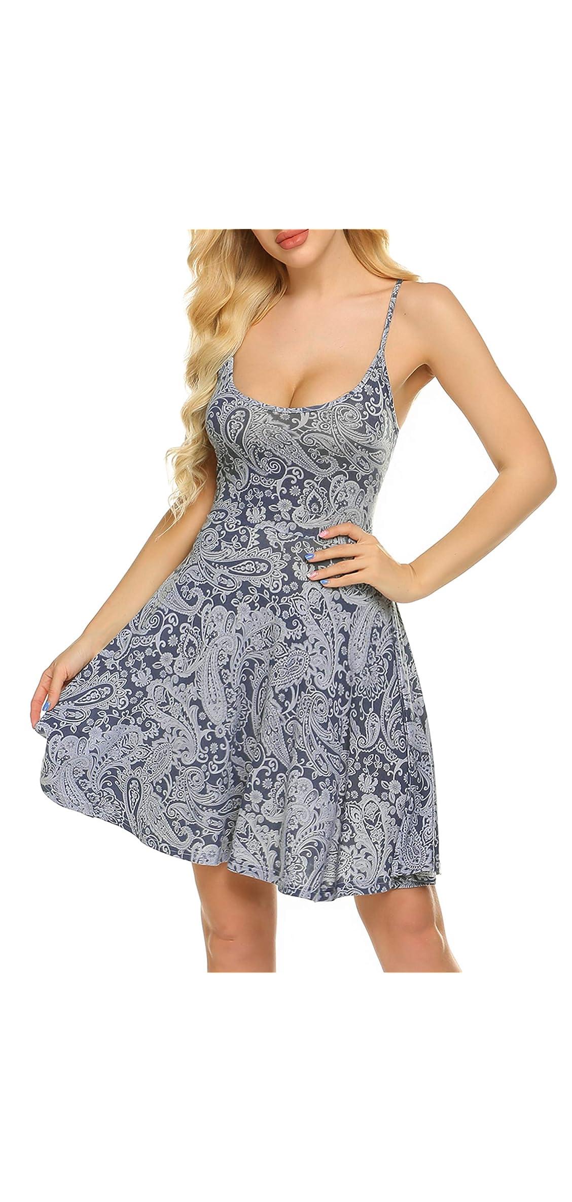 Women's Sleeveless Adjustable Strappy Summer Beach Floral