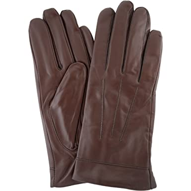 a0408a2cd Ladies Butter Soft Brown Leather Glove with 3 Point Woven Stitch Design & Warm  Fleece Lining