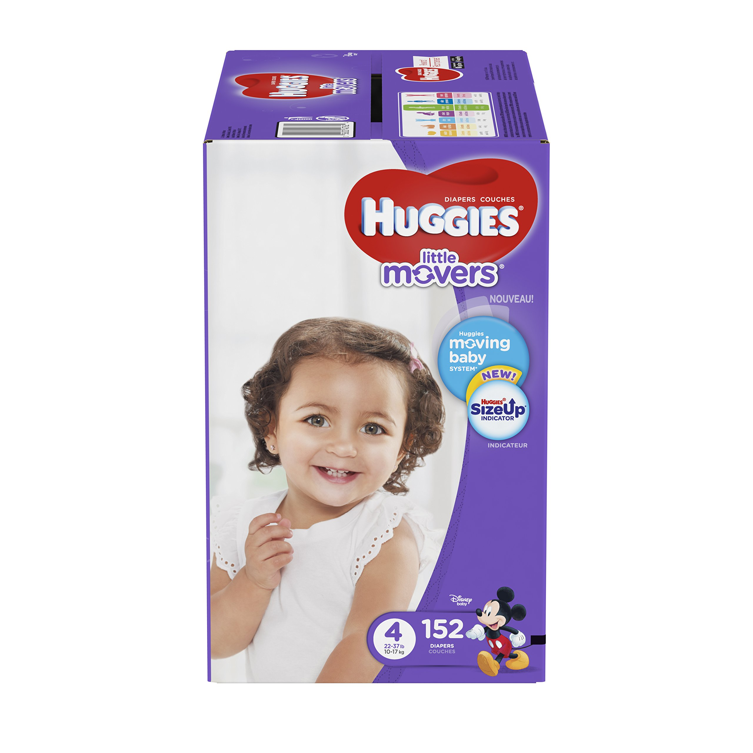 HUGGIES LITTLE MOVERS Diapers, Size 4 (22-37 lb.), 152 Ct, ECONOMY PLUS (Packaging May Vary), Baby Diapers for Active Babies