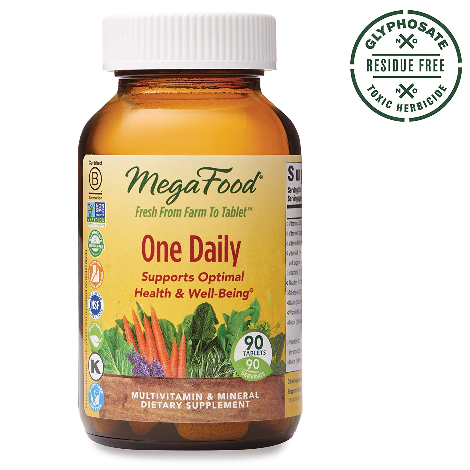 MegaFood, One Daily, Supports Optimal Health and Wellbeing, Multivitamin and Mineral Supplement, Gluten Free, Vegetarian, 90 Tablets (90 Servings) (FFP)