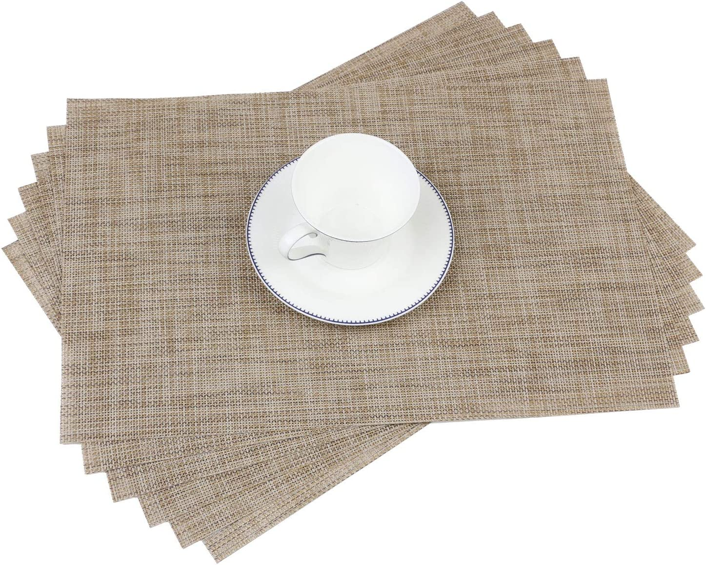 Dark Brown Homcomodar Table Place Mats and Coasters Set of 6 Plastic Placemats