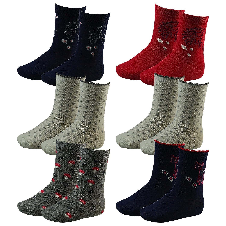 Ringeln und Herzen mehrfarbig Lavazio 6er Pack Kinder M/ädchen Sneaker Socken mit Punkten