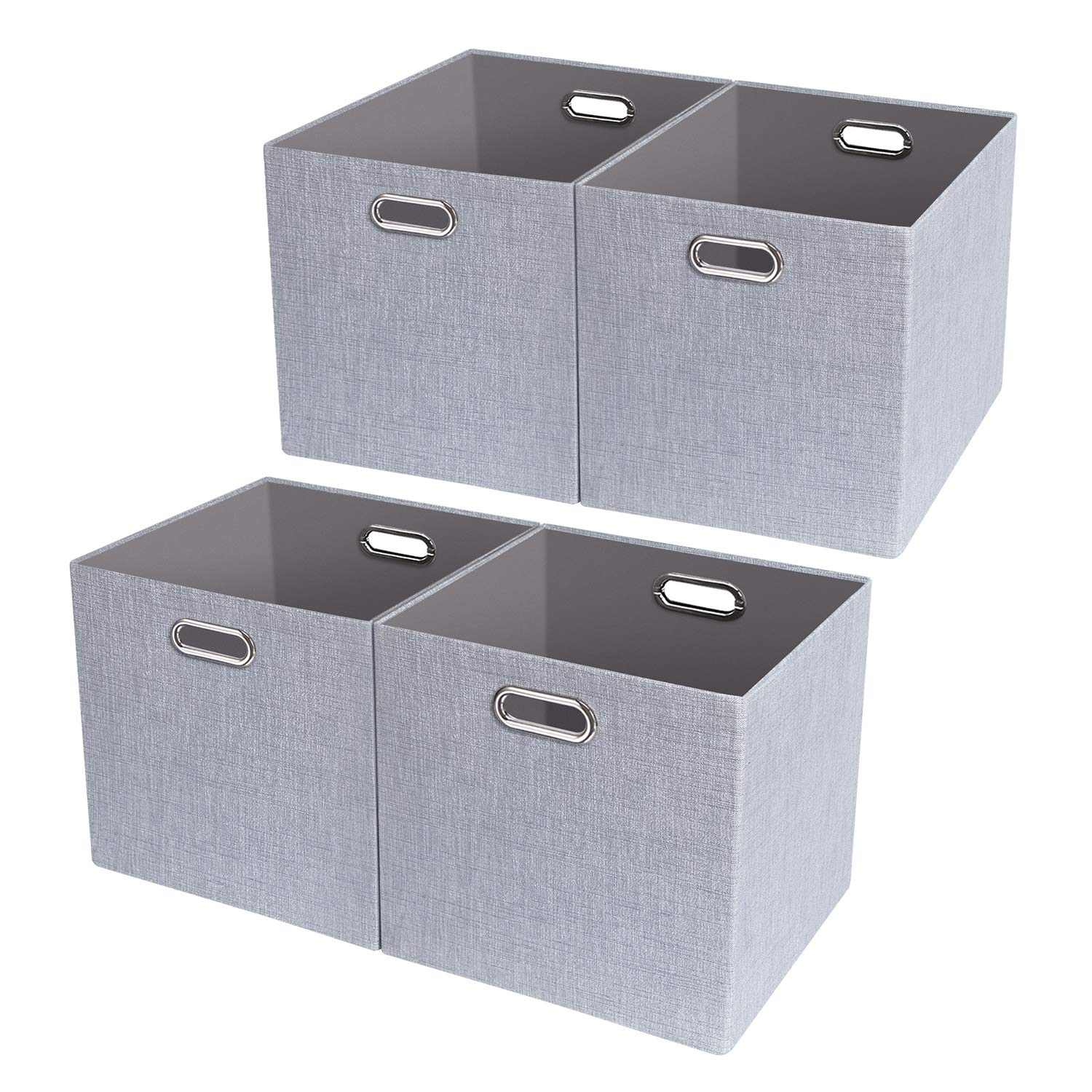 Posprica Foldable Storage Bins,11×11 Fabric Storage Boxes Drawers Cubes Container, Thick and Heavy Duty Organizer Baskets - 4pcs, Sliver Grey