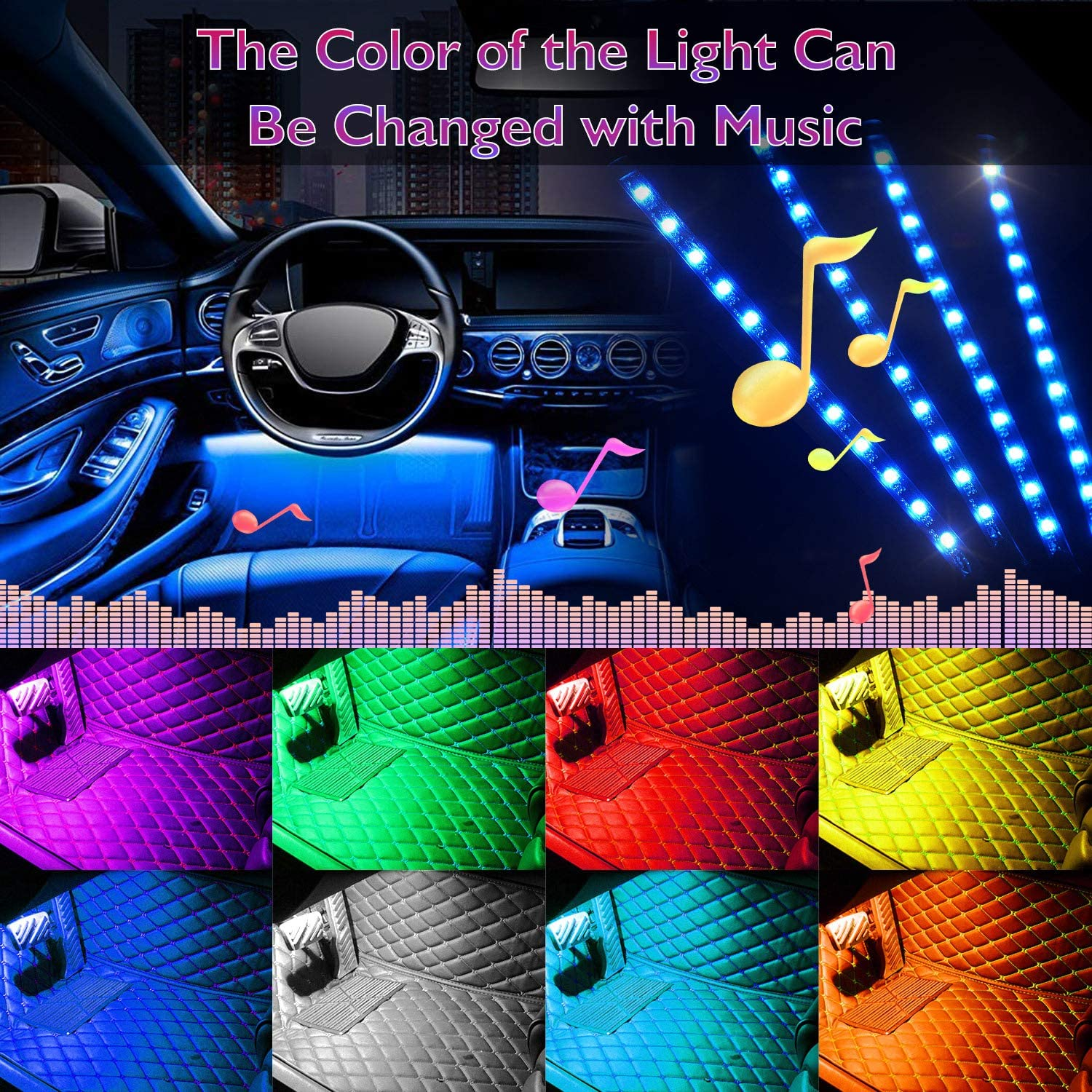DC 12V Car Charger Included 4 Pack 48 Car LED Lights Interior Car Lights MultiColor Music Car Lights Interior LED Under dash Lighting Kit with Sound Active Function and Remote Control