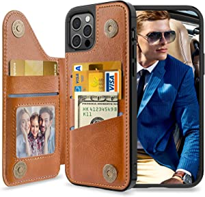 LOHASIC for iPhone 12 Pro Wallet Case Men, for iPhone 12 Phone Cover Women, 5 Card Holder Credit Slot PU Leather Protective Stand Magnet Folio Portfolio, Classic Photo Pocket 12Pro 6.1 Inch Brown