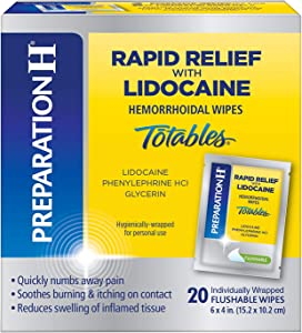 PREPARATION H Rapid Relief with Lidocaine Hemorrhoid Symptom Treatment Flushable Wipes, Numbing Relief for Pain, Burning & Itching, Reduces Swelling, 20 Count