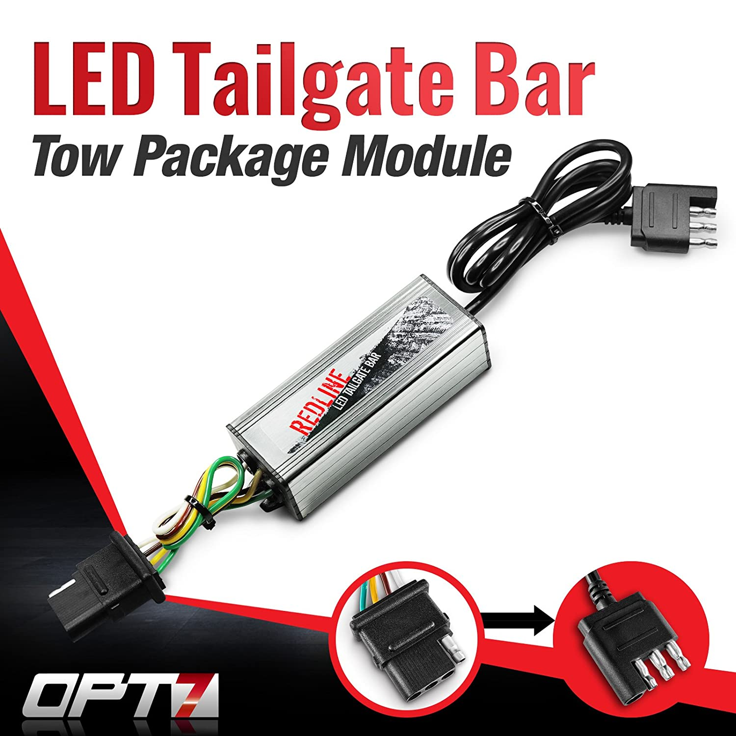 OPT7 Redline Triple LED Tailgate Bar Rear Sensor Tow Assist 4-Pin Module for Pick up Trucks with Back-up Reverse Camera or Trailer Tow Assist Package