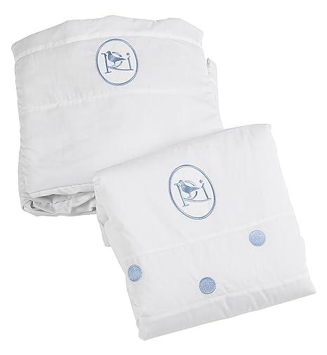 Colección Rosabel Damaris - Colcha + vestiduras para minicunas, color blanco y azul: Amazon.es: Bebé
