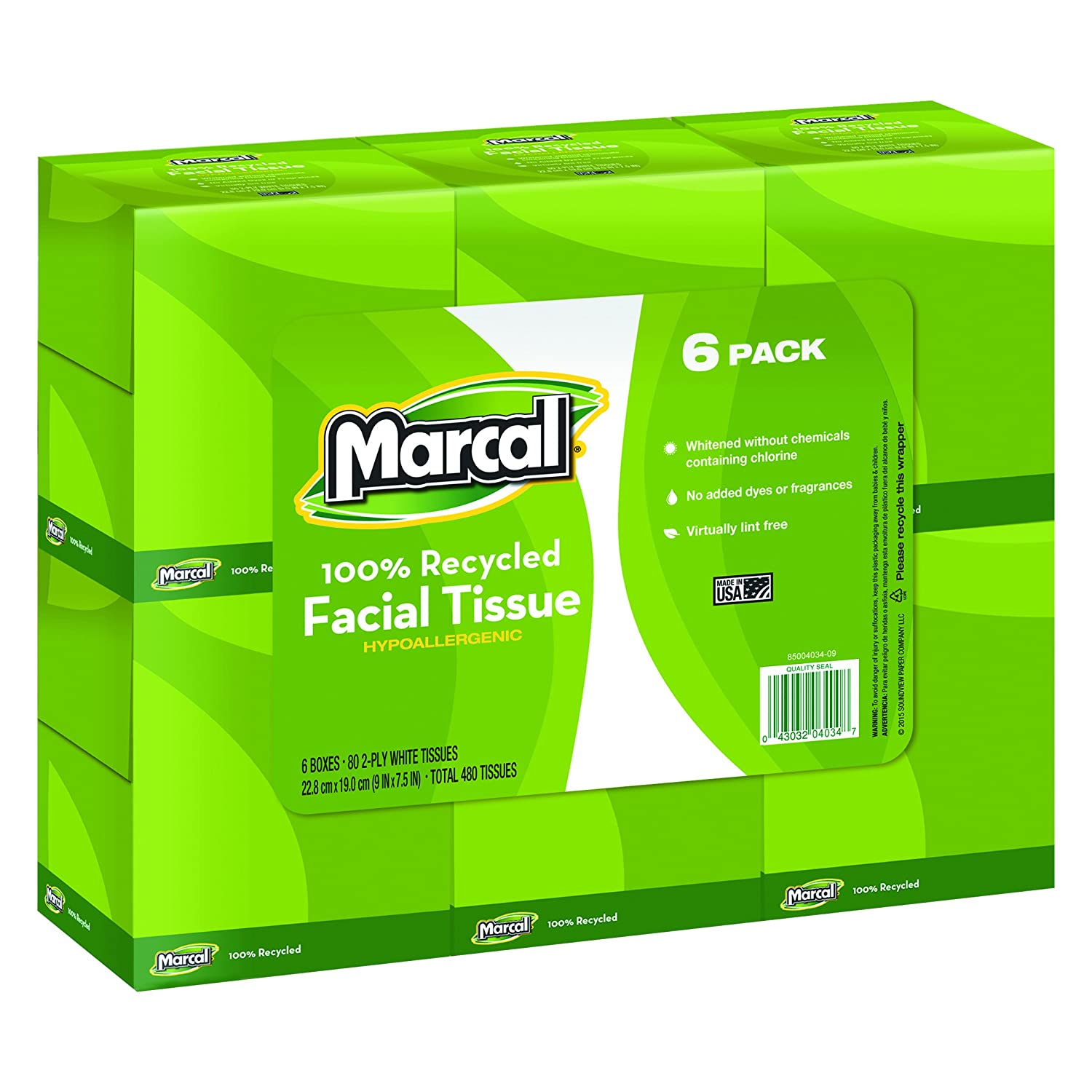 Marcal Small Steps Recycled Cube Facial Tissue - 2 Ply - 80 Per Box - 6 / Pack - 8.40quot; x 8.40quot; - White by Marcal Small Steps B006VFM614