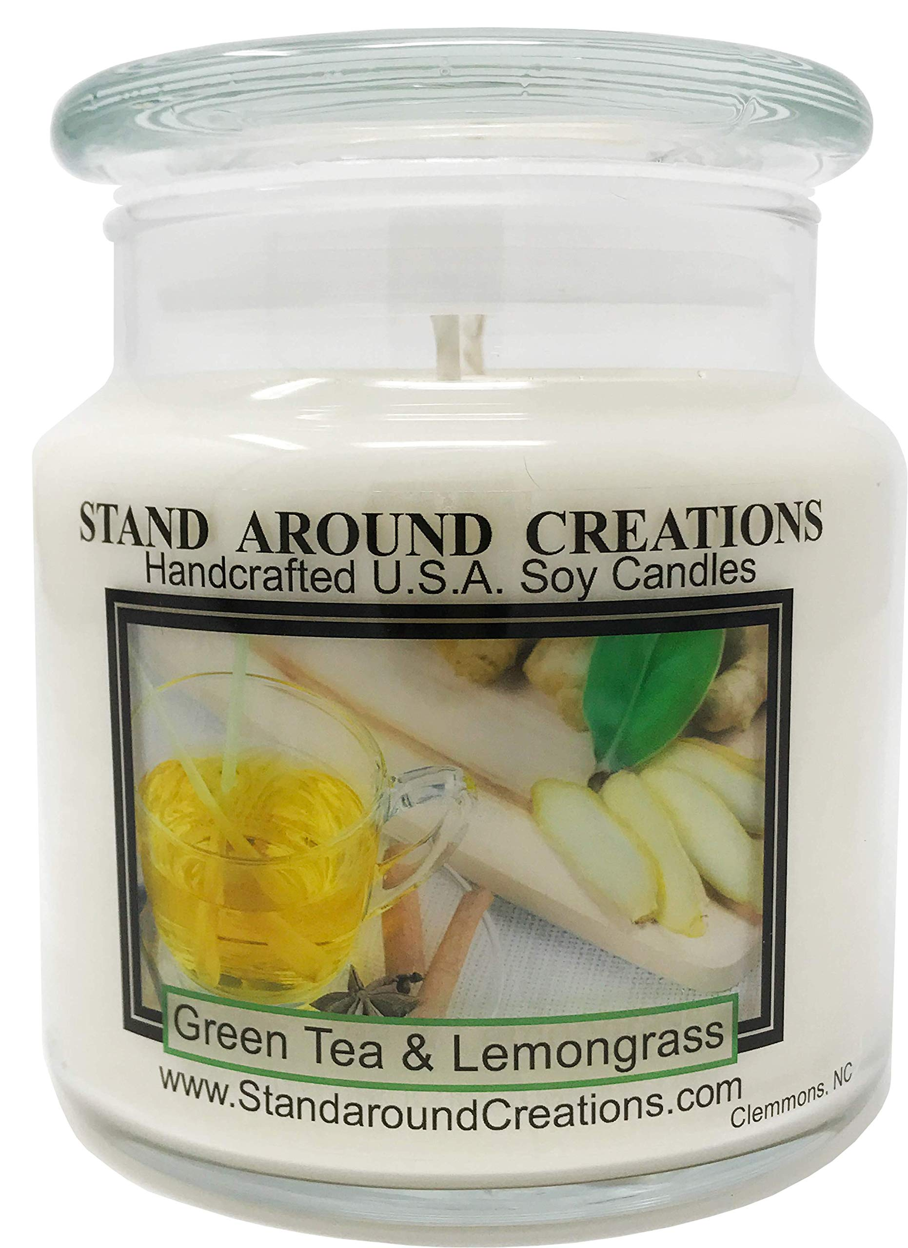 Premium 100% Soy Apothecary Candle - 16 oz. -Green Tea and Lemon Grass: Bright and natural citrus begins w/notes of bergamot tea and plum w/jasmine and orange flowers w/a clean citrus musk.