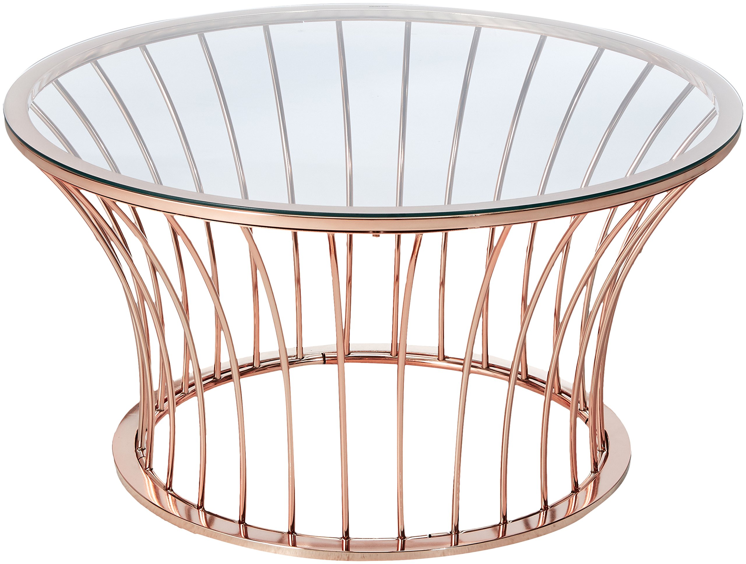 247SHOPATHOME IDF-4124C Coffee-Tables, Rose Gold - Style: contemporary Finish: Rose Gold Slatted design - living-room-furniture, living-room, coffee-tables - 81j78d07VNL -