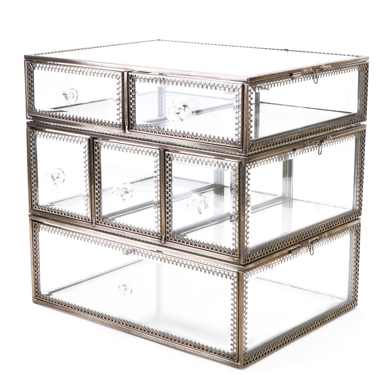 Hersoo Large Antique Mirror Glass Makeup Organizer Jewelry &Cosmetic Display, Stackable Dresser Storage For Vanity With Lid Dustproof Beauty Accent Home Decorative Box (Drawerset Br) by Hersoo