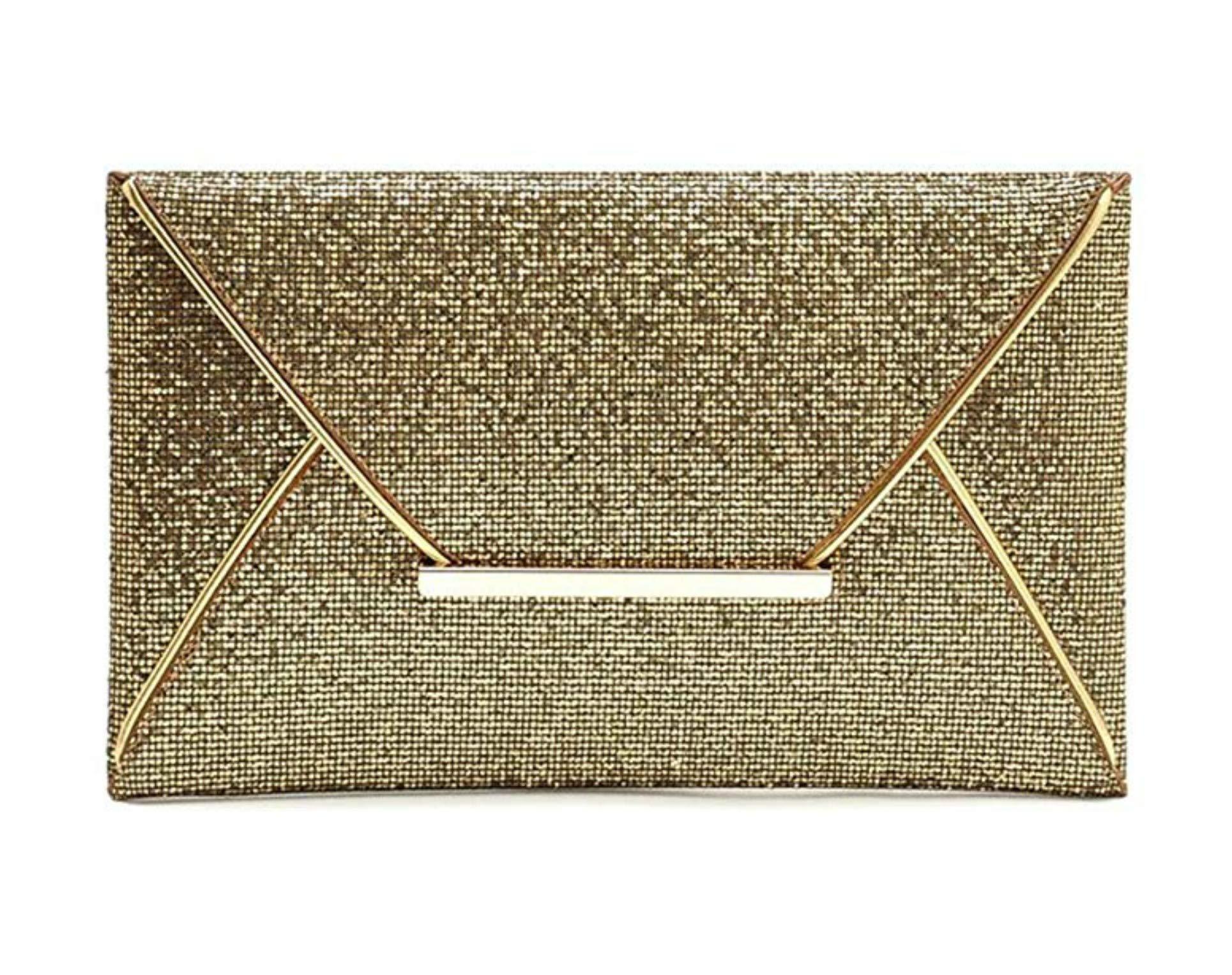 MidnightGirls Fashion Glitter Sequin Envelope Clutch Purse Handbag For Women (Gold)